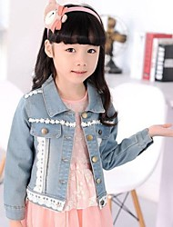 Girl's Blue Button Outfits Jean Outerwear Children Spring Autumn Coats And Jackets