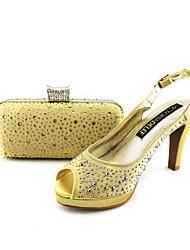 Sandalias ( Negro/Beige Punta abierta/Talón abierto/Los zapatos con los bolsos que empareja - Tacón de estilete - Satén - para MUJERES