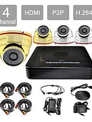 hdmi p2p 4 canaux de 8605cc04v de système de caméra de sécurité kit h.264 dvr 4x1000tvl ir dôme CCTV