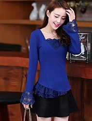 Women's Solid Black/Blue Blouse , Casual/Plus Sizes Square Neck Long Sleeve Lace/Ruffle