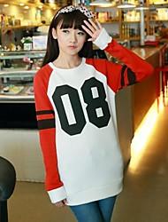 Women's Red/White Hoodies , Casual/Cute Long Sleeve