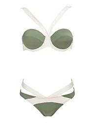 Women's Olive Green Bandage Shape Bikini