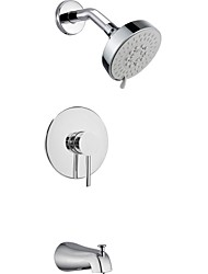 "Contemporary Chrome Wall Mount Rain Single Handle Brass Shower Faucet with 4.13"" Showerhead and Faucet Tap"