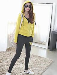 Women's Fashion Long Sleeve Hooded Sport Casual Suit(Blouse&Pant)