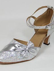Customizable Women's Dance Shoes Modern Paillette Customized Heel Silver