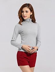 Damen Solide Einfach Lässig/Alltäglich T-shirt Frühling / Herbst / Winter Langarm Grau Dick