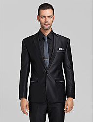 Black Polyester Tailored Fit Two-Piece Suit