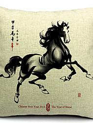 pintura chinesa estilo de algodão / linho fronha decorativo