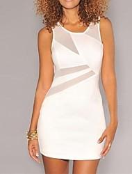 Women's  White Mesh Cutout Sleeveless Mini Dress