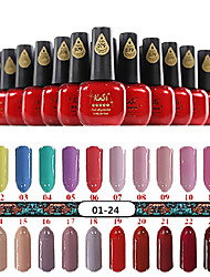1pcs nail art professionale del gel di colore uv no.1-24 smalto (15ml, colori assortiti)