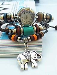 Women's Vintage Elephant Pendant Style Leather Handmade Weave Band Quartz Analog Bracelet  Watch Cool Watches Unique Watches