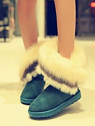 Women's Winter Snow Boots Suede Casual Flat Heel Feather Black Brown Green