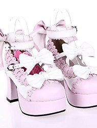 Lolita Shoes Sweet Lolita Princess High Heel Shoes Bowknot 7.5 CM Pink White For PU Leather/Polyurethane Leather
