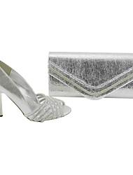 Calçados Femininos - Saltos - Peep Toe / Sapatos com Bolsa Combinando - Salto Agulha - Prateado - Cetim - Social / Festas & Noite