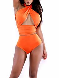 Women's Halter Tankinis , Solid Wireless/Padless Bra Others Orange