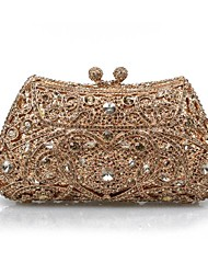 Miss Ricy Women's Hollowed-out Crystal Evening Handbag/Clutches with Gold Plated
