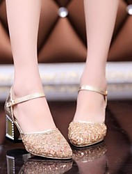 Women's Shoes Pointed Toe Chunky Heel Lace Pumps Golden Shoes More Colors available