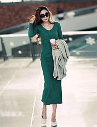 Fangyage Women's V Neck Vintage Long Sleeve Knitting Long Dress