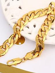 Vogue gioielli larghezza della catena di collegamento del braccialetto pieno di Figaro cordolo 12 millimetri in oro 24 carati giallo 22cm degli uomini