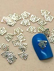 200шт полую конструкцию бабочки золотой металл ломтик ногтей украшения