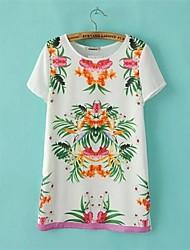 Damen Blumen Einfach Lässig/Alltäglich T-shirt Sommer Kurzarm Weiß Polyester Dünn
