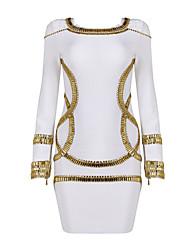 White Luxurious Beaded Long Sleeve Bodycon Bandage Dress