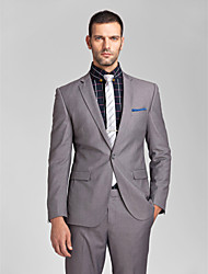 Suits Tailored Fit Slim Notch Single Breasted One-button Polyester 2 Pieces Gray Straight Flapped None (Flat Front) None (Flat Front)