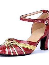 Sandálias das mulheres latino-salto baixo sapatos de glitter espumantes de dança (mais cores)