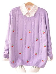Women's Round Fresh Cherry Embroidery Knitwear Pullover Sweater