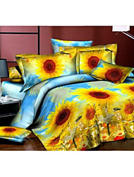Shuian® Duvet Cover Set,4 Piece Suit Comfort Simple Modern Ventilation Printed 3D Sunflower Pattern Full