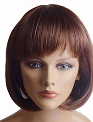Capless Short Brown High Quality Synthetic Nature Look Heat-resistant Fiber Hair Wig