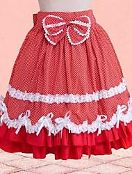 longitud corta de algodón falda roja dulce lolita