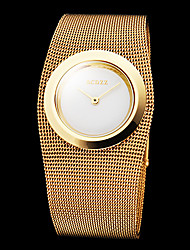 reloj de pulsera de cuarzo de banda de acero de oro elegante de la mujer