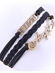 (1 Pc)Fashion 5.6cm Women's Leather Alloy Chain & Link Bracelet