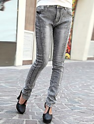 Women's Gray Denim Pant , Bodycon