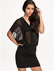celeb moda sexy preto ver através de vestido transparente de rua novidade vestidos de 9197