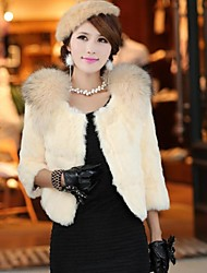 Women 's European Elegant Style Fur 3/4 Sleeve Coat