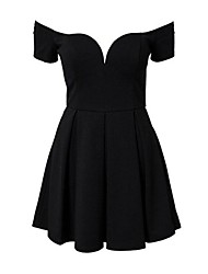 Women's Solid Black Dress , Sexy/Bodycon Off Shoulder/Deep V Short Sleeve