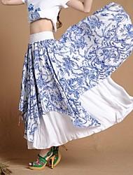 Women's Refreshing Casual Novel Blue and white Long Skirt Elegant Big Hem Asymmetry Irregular Maxi Skirt