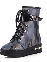 Women's Shoes Motorcycle Boots Wedge Heel Ankle Boots with Lace-up Buckle More Colors available