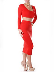 GGN Women's Sexy Two Piece Long Sleeve Skirt Suits