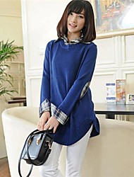 Women's Shirt Collar Off two Long in Sweater Coat