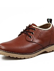 Round Toe Low Heel Calf Hair Oxfords  Men's Height increasing shoes (More Colors)