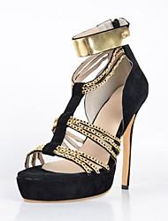 Sandales ( Noir Chaussures à talons/Escarpin-sandale/Spartiates/Bout ouvert - Talon aiguille - Velventine - pour FEMMES
