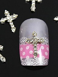 10st zilver strass kruising vingertoppen accessoires nail art decoratie