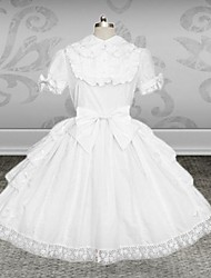 One-Piece/Dress Classic/Traditional Lolita Lolita Cosplay Lolita Dress White Solid Short Sleeve Medium Length Dress / Belt For Women