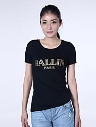 haoduoyi® Women's Golden Alphabet Print Roll-up Sleeve T-shirt