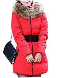 Hong Women Slim Waistband Long Down Jacket