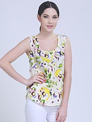 Women's Casual/Daily Simple Spring / Summer / Fall Blouse,Floral U Neck Sleeveless Multi-color Opaque
