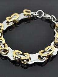 pulseira toonykelly® 21cm do vintage dos homens de aço inoxidável (prata e ouro) (1pc)